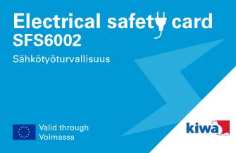 Pätevyystodistus SFS 6002 Sähkötyöturvallisuuskortti
